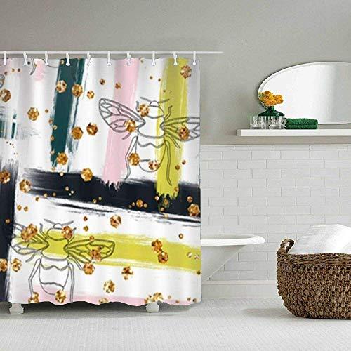 wanshangcheng Bathroom Shower Curtain Honey Bee Shower Curtains Fabric Bathroom Curtain Durable Waterproof Bath Curtain Sets 72inch72inch 72x72 Inch