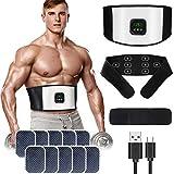 zociko Electroestimulador Muscular Abdominales, Estimulador Estimulación Muscular Masajeador Eléctrico Cinturón EMS Estimulación USB Recargable ABS Trainer Almohadillas de Gel 10pcs