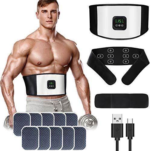 zociko EMS Trainingsgerät, Bauchmuskel-Gürtel, Elektrostimulation Muskelstimulator Bauchtrainer, ABS Trainingsgerät Muskelaufbau Stimulationsgerät Bauch Muskeln für Männer und Frauen 10 Gel Pad