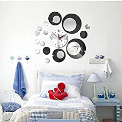 HOODDEAL Acrylic Clock and Mirror Style Removable Decal Vinyl Art Wall Sticker Home Decor (Silver Black)