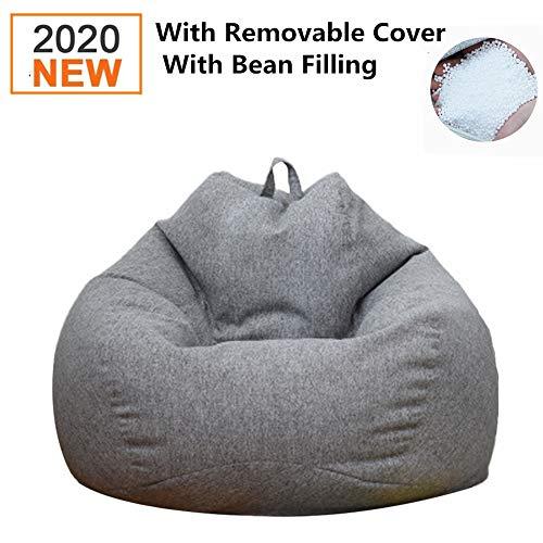 DankeSh Bean Bag Chair, Big Comfy Bean Bag Chair with Removable Cover Memory Foam Bean Bag Sofa Furniture (Deep Gray, 31x35inch) chair gaming gray