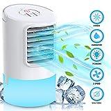 Nobebird Climatiseur mobile, refroidisseur d'air personnel et portable, refroidisseur évaporatif avec minuterie, poignée, 3 vitesses, 7 veilleuses pour la maison, le bureau et la chambre (blanc)