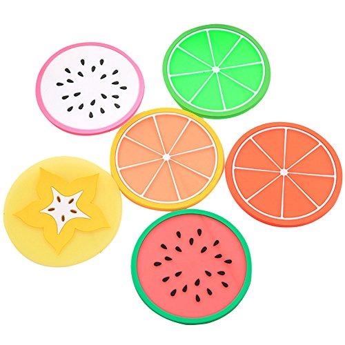 6x Chytaii Dessous de Verre/Plat / Bol/Tasse Sous-Verre Rond Forme de Fruits Sous-Bock Tapis en Silicone Anti-Dérapent Multicolore