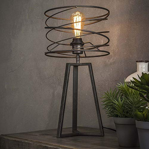 Famlights Riccardo Tafellamp van metaal in antraciet, 1 lamp, E27, industrieel design, edele tafellamp voor woonkamer slaapkamer, designerlamp gedraaid nachttafellampje, vintage