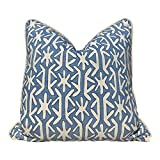 Thibaut Quadrille Pillow Cover in Light Blue Embellished with Cotton Rope Trim Decorative Linen Cushion Case Decor Pillow Covers 18x18 Inch for Home Decor Couch Bedroom Sofa Chair Car Birthday Gift