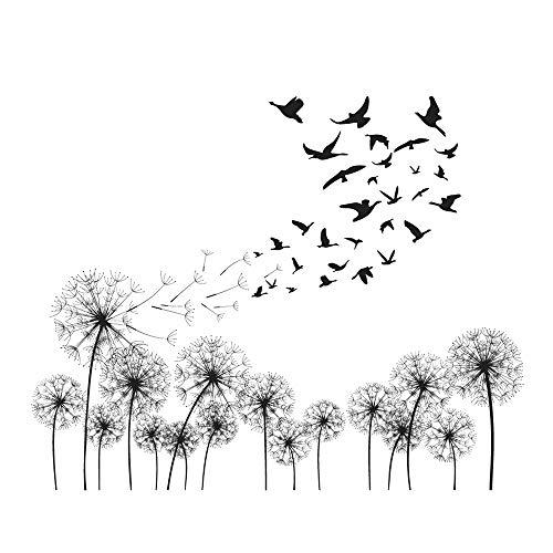 decalmile Negro Diente De León Pegatinas de Pared Aves Volando en el Viento Vinilos Decoración del Hogar para Sala de Estar Dormitorio