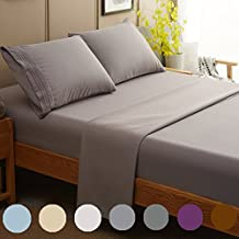 SONORO KATE Bed Sheet Set Super Soft Microfiber 1800 Thread Count Luxury Egyptian Sheets Fit 18 - 24 Inch Deep Pocket Mattress Wrinkle and Hypoallergenic-4 Piece (Grey, Queen)