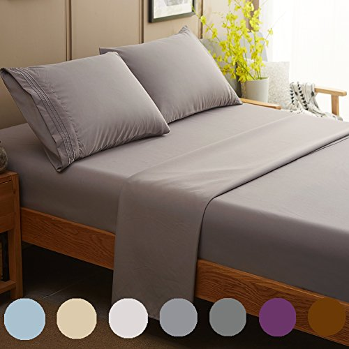 SONORO KATE Bed Sheet Set Super Soft Microfiber 1800 Thread Count Luxury Egyptian Sheets Fit 18-24 Inch Deep Pocket Mattress Wrinkle and Hypoallergenic-4 Piece (Grey, Queen)