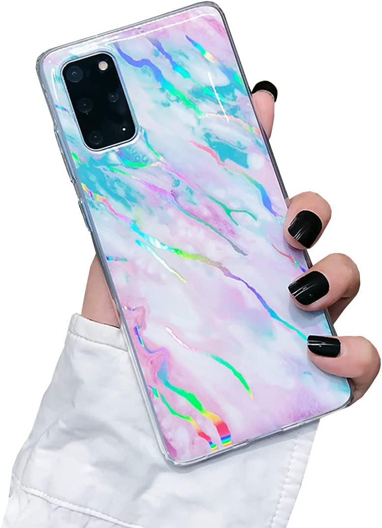 Galaxy A71 5G Case Protective Cover Marble Phone Case for Women Girls Sparkle Glitter Slim Fit Shockproof Soft Silicone Rubber TPU Bumper Case for Samsung Galaxy A71 5G Case-Colorful