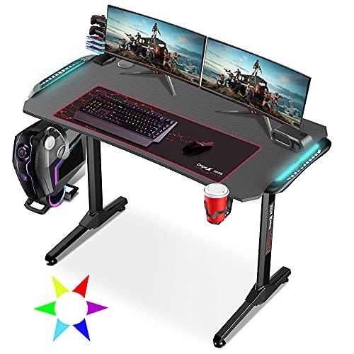 Dripex Gaming Desk Ergonomic with LED Lights E-Sports Computer Table T-Shaped Workstation Home Office Study, Large Carbon Fiber Desktop 110×60 cm