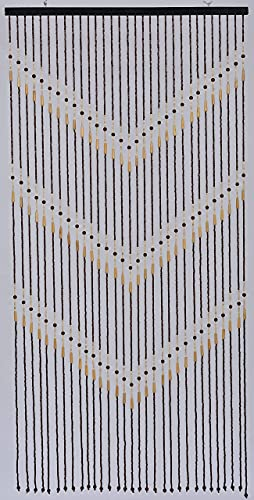 """Natural Wood and Bamboo Beaded Curtain-31 Strands-72 High--""""Victory"""" Bamboo and Wooden Doorway Beads-Boho Bohemian Curtain"""