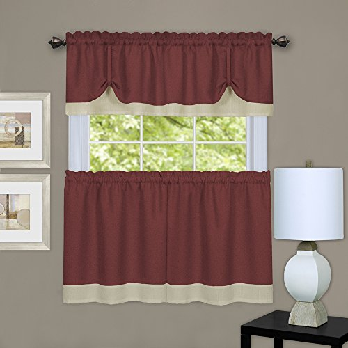 """Designer Home Woven Trends Two-Tone Window Curtain Tier Pair & Valance Set, Double Layer Small Window Curtains for Bathroom, Living Room, and Kitchen, Burgundy/Beige, 58"""" x 24"""""""