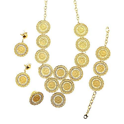 Turquía moneda collar pendientes anillo pulsera conjuntos de joyas para mujeres joyería de boda de color dorado para regalos de recién casados