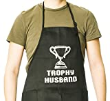 Funny Guy Mugs Trophy Husband Adjustable Apron with Pockets - Funny Apron - Perfect For Kitchen BBQ Grilling Barbecue Cooking