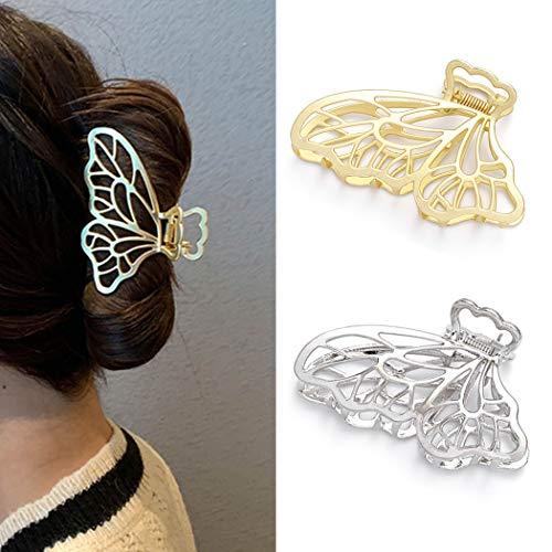Runmi Haarklammern Schmetterling Haarspangen Metall Haarspange Klaue Große Haarkrallen Haarschmuck für Frauen und Mädchen (2 Stück)