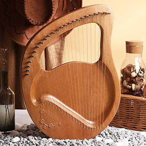 FZYE Arpa de Lira de 24 Cuerdas, Arpa de Caoba de Madera Maciza con Bolsa de Transporte, Llave de afinación, Regalo de Cuerda para Principiantes, Amantes de la música, niños y Adultos (