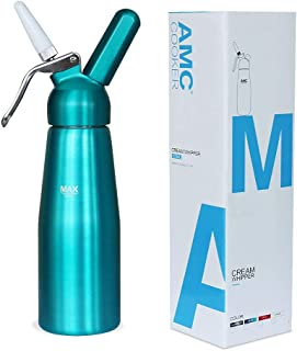 AMC Professional Whipped Cream Dispenser with 3 Nozzles and Bonus Dispenser Cleaning Brush Whipped-Cream-Dispenser-Whipper-Canister/Use with N2O cream chargers (not included) (Aquamarine)
