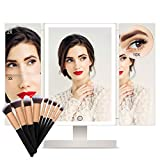 FASCINATE Espejo Maquillaje con Luz Espejo con Sets Brochas Maquillaje Tríptica 3X, 2X,1x Aumentos 36 Leds Espejo de Mesa 10X Aumentos Espejo Rotación Ajustable de 180° Espejo Carga con USB o Batería