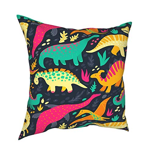 Keepy Flat Dinosaur Patternmodern Decorative Throw Pillow Covers Cushion Cover for Bedroom Sofa Living Room 18 X 18 Inch, Natural