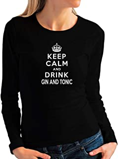 Idakoos Keep Calm and Drink Gin and Tonic Women Long Sleeve T-Shirt