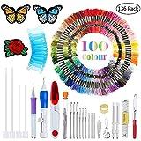 Filo da ricamo 100 fili per confezione, filo da ricamo, filo da ricamo a punto croce, filo da ricamo braccialetto da amicizia, filo da ricamo artigianale colori arcobaleno, con ago da ricamo gratuito