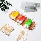 136 Piezas Set de Cajas de Pastel Paletas Transparentes, 36 Cajas de PET Transparentes, Cajas de Paletas de Plástico, 100 Palitos de Paleta Helado de Madera Caja de Bocadillos Caramelo