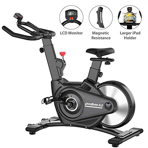 pooboo Indoor Cycling Bike Exercise Bike Magnetic Resistance Rear Flywheel Stationary Bike Bicycle with LCD Display and Ipad Holder