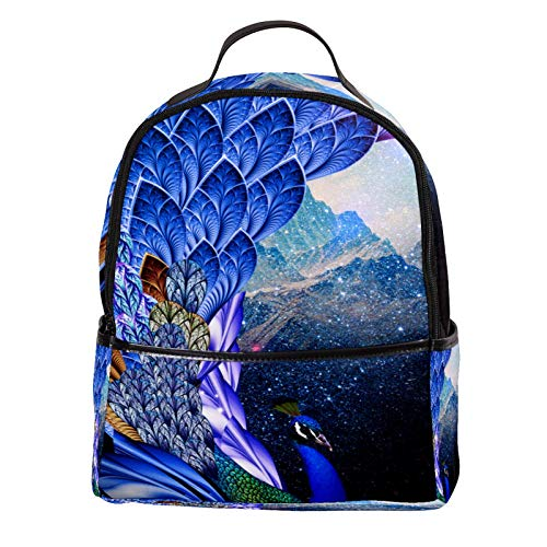 AITAI PU Leather Backpack Beautiful Peacock Outdoor School College Bookbag fit Backpack for Man and Woman