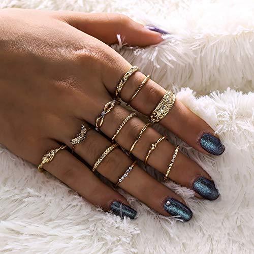 Deniferymakeup Trendy 12 stks Vintage Goud Strik Gesneden Ring met Diamanten Ring Knuckle Ring Set voor Vrouwen en Meisjes