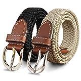 YUCFOREN 2 Pack 1'' Narrow Width Elastic Belt, Stretch Braided Skinny Fabric Woven Women or Girl Jeans Dress Casual Belt