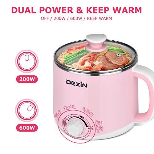 Dezin Electric Hot Pot, Rapid Noodles Cooker, Stainless Steel Mini Pot 1.6 Liter, Perfect for Ramen, Egg, Pasta, Dumpling, Soup, Porridge, Oatmeal with Temperature Control and Keep Warm Function, Pink
