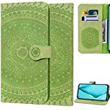 DodoBuy Hülle für Motorola Moto G6 Play/Moto E5, Mandala Muster Magnetische Flip Cover PU Leder Schutzhülle Handy Tasche Brieftasche Wallet Hülle Ständer mit Kartenfächer Trageschlaufe - Blasses Grün