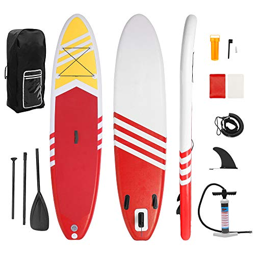 YALKIN Inflatable Paddle Boards Stand Up 10.5'x30 x6 ISUP Surf Control Non-Slip Deck Standing Boat for All Skill Levels, with Pulp, Pump, Repair Kit, 12~15PSI Gas Pressure, Ship from US (Red)