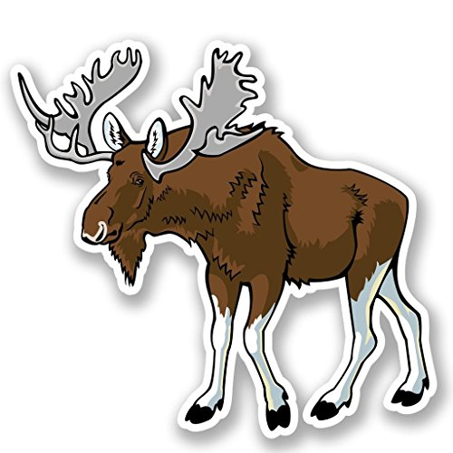 2 x 15cm/150mm Moose Vinyl Sticker Decal Laptop Travel Luggage Car Bike Sign Fun #4504