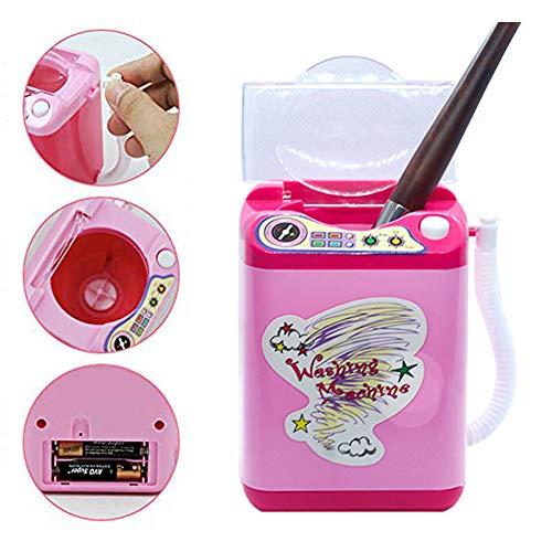 Lezed Makeup Brush Cleaner Device Kinderwaschmaschine Toy Miniatur Wäsche Spielset Waschmaschine Kinder Spielzeug Pre School Play Toy Kinder Rollenspiele Haushaltsspielzeug Pink Rose rot