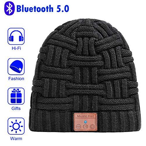Deepow - Berretto con Bluetooth, cuffie V5.0 wireless musicale invernale a maglia, con 2 altoparlanti stereo HD integrati e microfono per sci, corsa, pattinaggio, passeggiate, regali di compleanno per uomini e donne