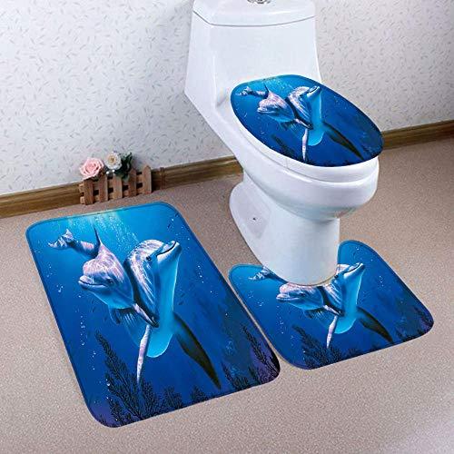 FGHJSF Badezimmermatten und Teppiche Blauer Delfin 3-teiliges Badteppich-Set Toilettensitzbezug und -vorleger, Badezimmer-Garnitur, U-förmiger Teppich, Matte
