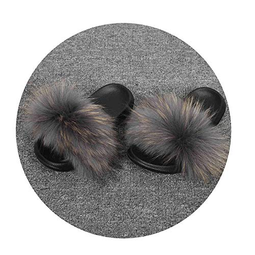NDJqer Women's Shoes Real Raccoon Fur Slippers Natural Raccoon Fur Slides Lady's Fashion Sliders,Raccoon Grey,10.5