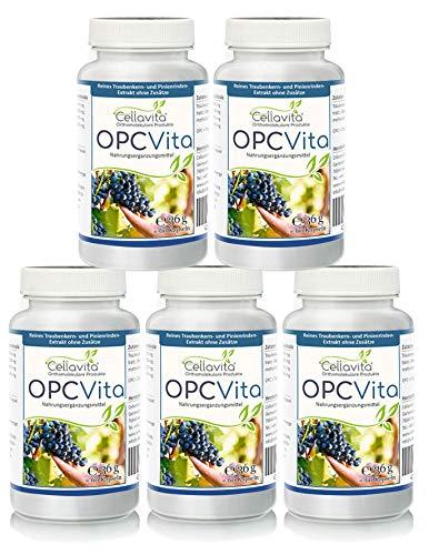 CELLAVITA OPC Vita 5 x 60 Kapseln | Traubenkernextrakt & Pinienrindenextrakt (Oligomere Proanthocyanidine) | 100{28a5c6ebaf1bf532432c42b76555629dd0c451b6ffde7fc72ee52b004566d97c} Original, hochdosierte Formel