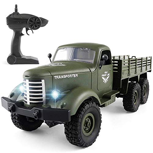 Flywind Military RC Truck Toys for Kids Boys, 6WD Remote Control Military Truck Army RC Cars with Rechargeable Battery RC Military Vehicles Kids Xmas Present, Green