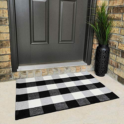 """Cotton Buffalo Plaid Rugs Buffalo Check Rug Black and White Checkered Rug Welcome Doormat Rug for Kitchen Carpet Bathroom Outdoor Porch Laundry Living Room Braided Washable Throw Mat (23.6""""x35.4"""")"""