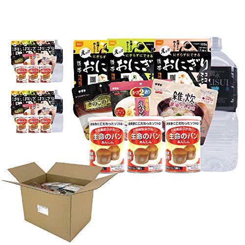 ピースアップ 3人用/3日分(27食) 【10年保存水付】非常食セット アルファ米/パンの缶詰 (3人用)