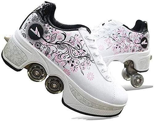 qmj Zapatos con Ruedas Niños Y Niña Patines 4 Ruedas Automática Calzado De Skateboarding Deportes De Exterior Patines Y Deporte Gimnasia Zapatillas,White-38