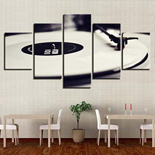 wjdymx canvas afdrukken foto's canvas muurkunst wooncultuur 5 stuks phonograaf schilderij Hd afdrukken wit muziek console platenspeler poster