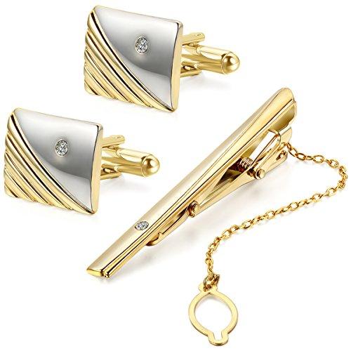 JewelryWe Set Lega Cravatta Clip e Gemelli Colore Oro, Stripes Camicia a Righe Business Matrimonio Nozze lucidato Mens