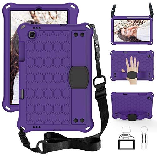 Dmtrab para Para Sansung Galaxy Tab S6 Lite P610 Case, Diseño de Abeja EVA + PC Material de la PC Cute Cubierta Protectora Plana Anti Caída con Correa (Púrpura + Negro) (Color : Purple+Black)