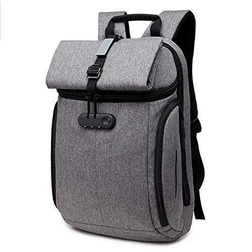 LIUJIE Business Laptop Zaino Resistente all'Acqua Anti-furto Collegio Zaino withLock 15,6 Pollici Backpacks Computer per Le Donne Uomini, Casual Escursioni Viaggio Zainetto,Gray