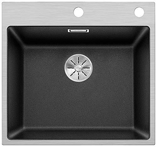 BLANCO Subline 500-IF/A Steelframe, Küchenspüle mit Batteriebank, Silgranit PuraDur Anthrazit-schwarz mit filigranem Edelstahlrahmen / mit InFino-Ablaufsystem und Ablauffernbedienung; 524111