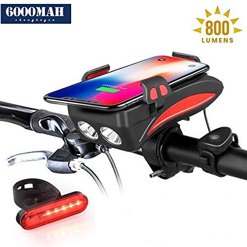 4 in 1 USB wiederaufladbares fahrradlicht Set, Fahrrad handyhalterung+3000/6000mAh mobiles Netzteil,800 Lumen superhelles für mehr als 12 Stunden Laufzeit,150DB fahrradklingel,Rot,6000mAh+taillight