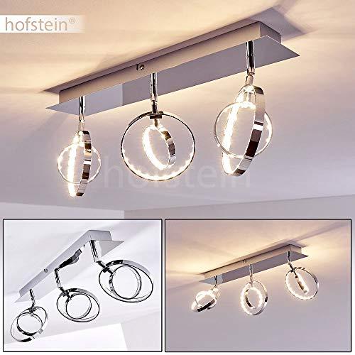 LED Deckenleuchte Ogoki, Deckenlampe mit verstellbaren Leuchtringen aus Metall/Kunststoff in Chrom, 3-flammig, 3 x 4,5 Watt, 2000 Lumen (insgesamt), Lichtfarbe 3000 Kelvin (warmweiß)